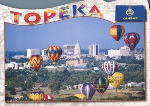 Hot air balloons over Topeka, Kansas